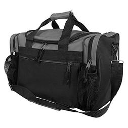 "DALIX 17"" Duffle Bag Front Mesh Pockets in Gray"
