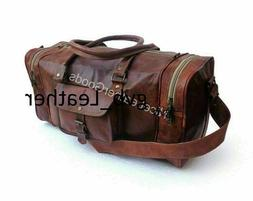 """30"""" Real Goat Leather Large Travel Hand Luggage Duffel Gym B"""