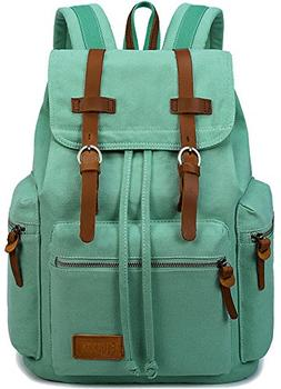 BLUBOON Women Canvas Vintage Backpack Leather Casual Bookbag