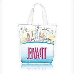 Canvas Tote Bag Travel Famous Landmarks of the Statue of Lib