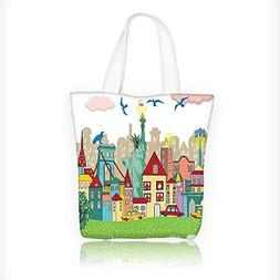 Canvas Tote Bag Urban Theme New York City Statue of Liberty
