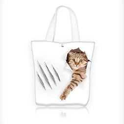 Canvas Tote Bags Cat in Wallpaper Hole with Claw Scratches P