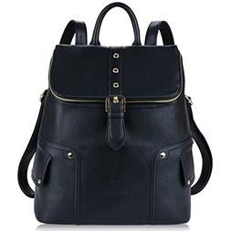 Fanspack Women's PU Leather Backpack Purse Casual Shoulder B