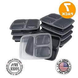 Fit Meal Prep BPA Free Bento Lunch Box with 3 Compartments a