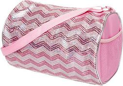 1690d37414ce NEW Girls Light Pink Silver Sequin Chevron Shoulder Duffle D
