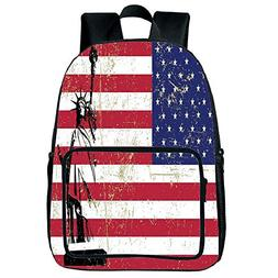 Polychromatic Optional Square Front Bag Backpack,NYC Decor,S