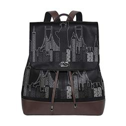 Statue Of Liberty Women's Genuine Leather Backpack Bookbag S
