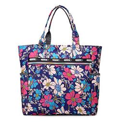 Women's Canvas Nylon Floral Multi Pocket Top Handle Tote H