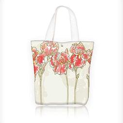 Women's Canvas Tote Bag, Painting Style Iris Flowers Bloomin