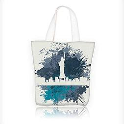 Women's Canvas Tote Bag, USA Statue of Liberty Urban Style P