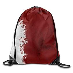 Abstract Red White Print Drawstring Backpack Rucksack Should