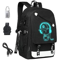 FLYMEI Anime Luminous Backpack with USB Charging Port and An