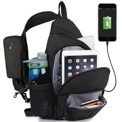 WANDF Anti-Theft Sling Bag Travel Crossbody Backpack USB Cha