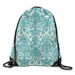 Antique Style Flowers Print Drawstring Backpack Rucksack Sho