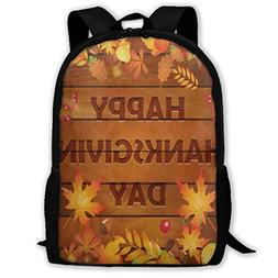 Backpack Happy Thanksgiving Day Autumn Maple Leaves On Woode