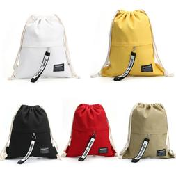 Backpack Travel Pouch Gym Pack Canvas Storage Bag Cinch Sack