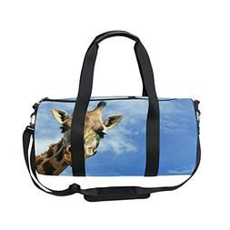 OuLian Sports Bag Wild Giraffe Under Sky Mens Duffle Luggage