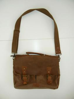 LONG FORTH Brown Canvas LEATHER MESSENGER BAG Quality Should