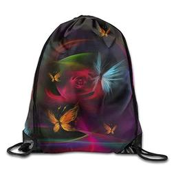 Beautiful Burning Butterfly Flowers Print Drawstring Backpac