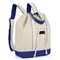 JEMIA Canvas Drawstring Backpack - Navy Blue with Zipper and
