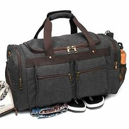 BLUBOON Canvas Duffel Bag Vintage Weekender Overnight Bag Tr
