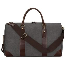 S-ZONE Canvas PU Leather Trim Travel Duffel Shoulder Handbag