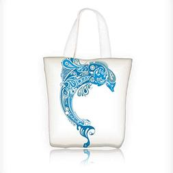 Canvas Tote Bag Blue water drops of on treat water repellent