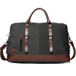 Carry on Bag Canvas Leather Weekender Overnight Holdall Tote