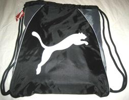 Puma Cat Drawstring carry sack Gym Bag Grey White Black Logo