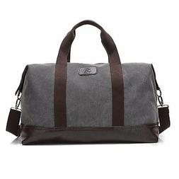 Travel Duffle Bag Canvas Leather Gym Weekend Bag