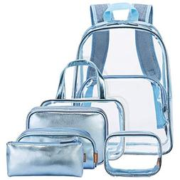 03208b4dc685 NiceEbag 6 in 1 Clear Backpack for Women...