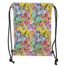 Custom Printed Drawstring Sack Backpacks Bags,Butterfly,Comp