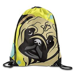 Cute Cartoon Pug Balloon Print Drawstring Backpack Rucksack
