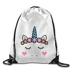 Cute Unicorn Face Print Drawstring Backpack Rucksack Shoulde