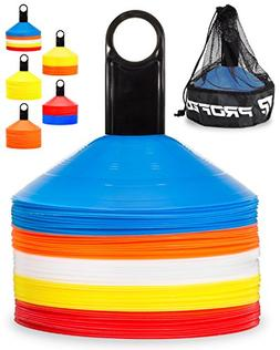 Pro Disc Cones  - Agility Soccer Cones with Carry Bag and Ho