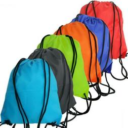6 Pack Drawstring Backpack Bags 420D polyester fabric Foldin
