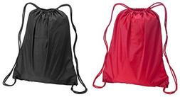 Liberty Bags Large Sport Drawstring Backpack Bags Set_Red &