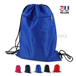 drawstring backpack zippered pocket sport gym waterproof
