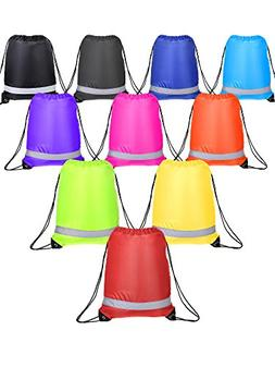 Shappy 10 Pieces Drawstring Bag Sack Pack Cinch Tote Kids Ad