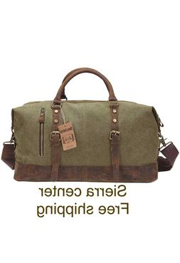 Duffel Bag Berchirly Large Canvas and Leather Travel Carryon