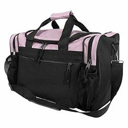"""DALIX 17"""" Duffle Travel Bag with Front Mesh Pockets in Pink"""