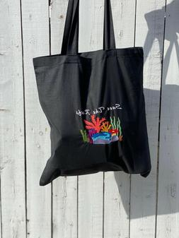 Embroidered Tote Bags, Black, Reusable, 100% cotton, Coral R