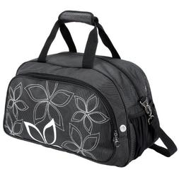"20"" Fashionable Flowers Pattern Black Sports Gym Tote Bag Tr"