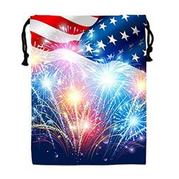 Fireworks Us Flag Drawstring Bags Waterproof Party Favors Po