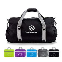 Foldable Sports Duffel Gym Bag for Women Men with Shoe Compa