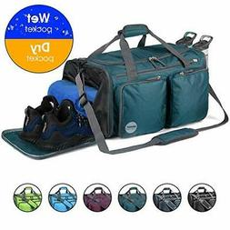 foldable sports gym bag with wet bag