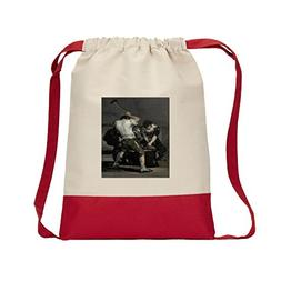 The Forge  Canvas Backpack Color Drawstring Bag - Red