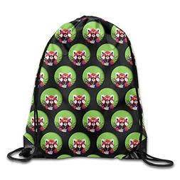 Funny Red Panda Circle Unisex Drawstring Backpack Travel Spo