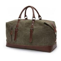 Genuine Leather Canvas Gym Bag Weekender Duffle Travel Bag