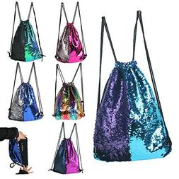 BABYHYY Fashion Glitter Drawstring Backpack Sequins Mermaid